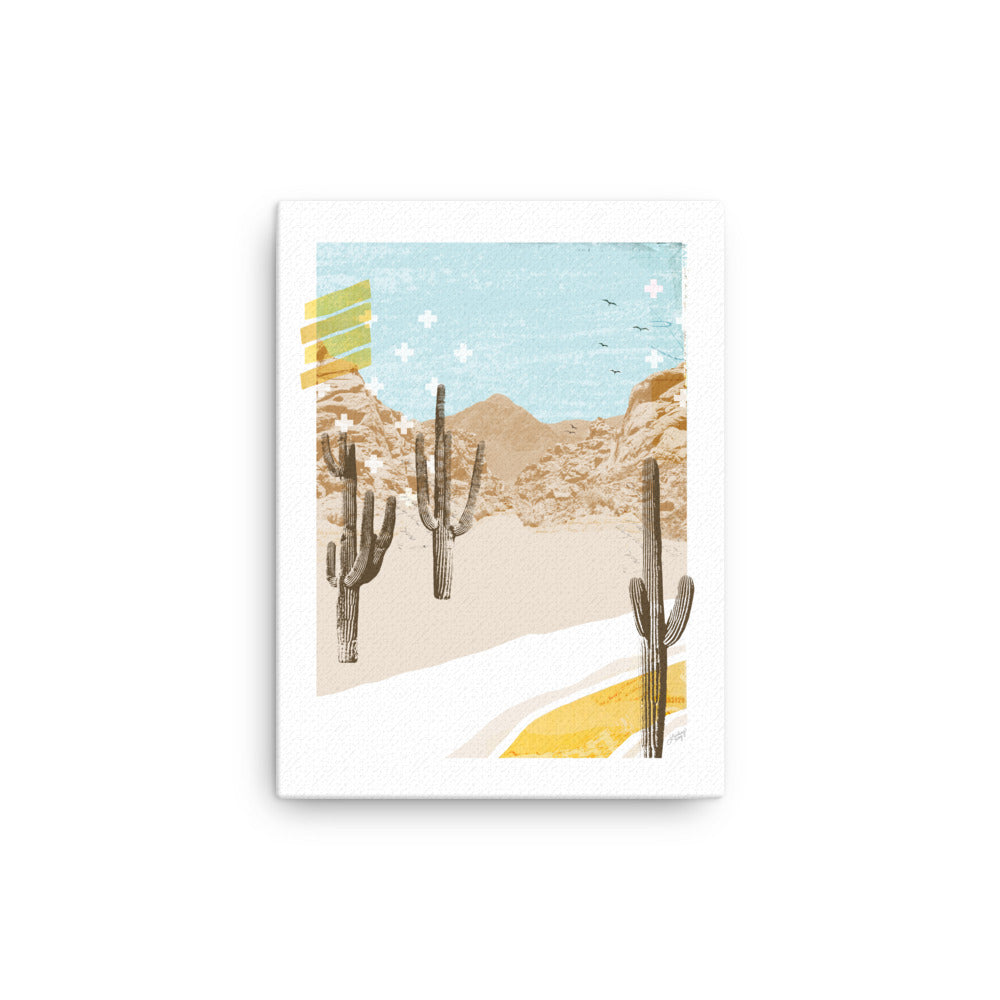 abstract collage illustration of a mountain desert, printed on canvas