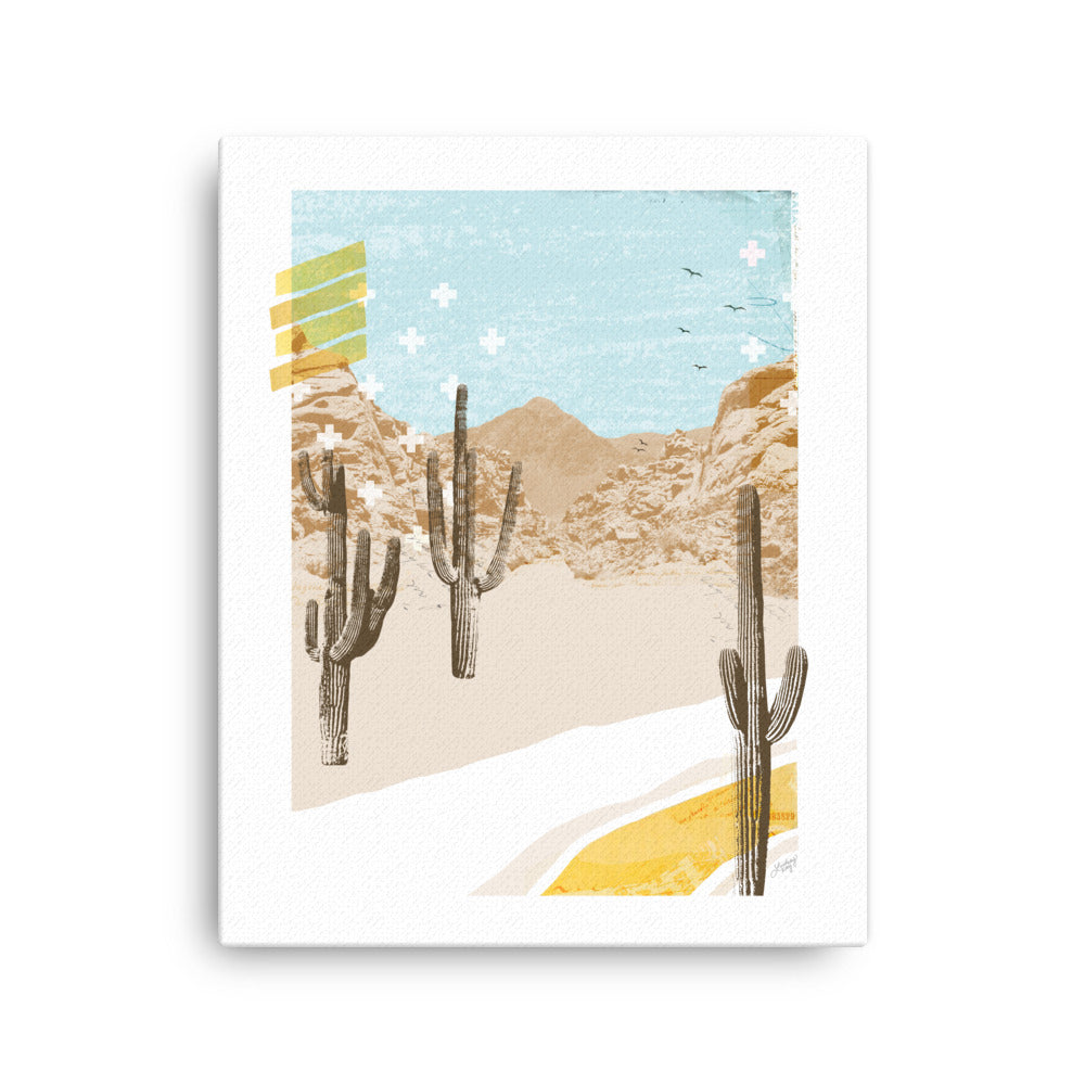 abstratc desert mountain collage illustration on canvas, unique wall decor