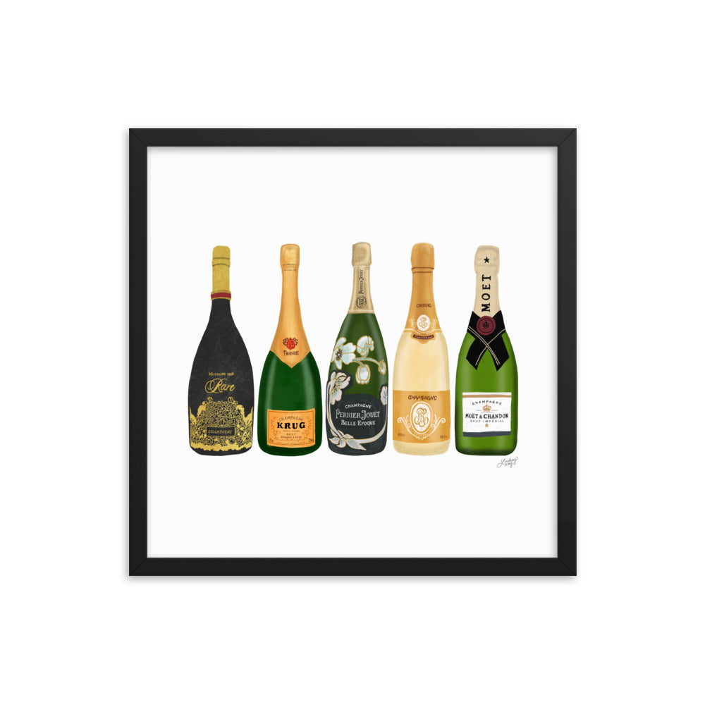 Champagne Bottles Illustration - Framed Matte Print