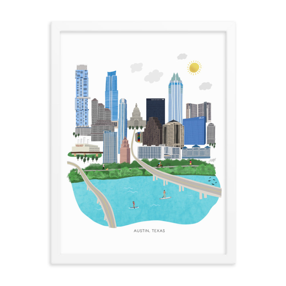 white or black wall framed austin texas cityscape illustration, printed on matte print