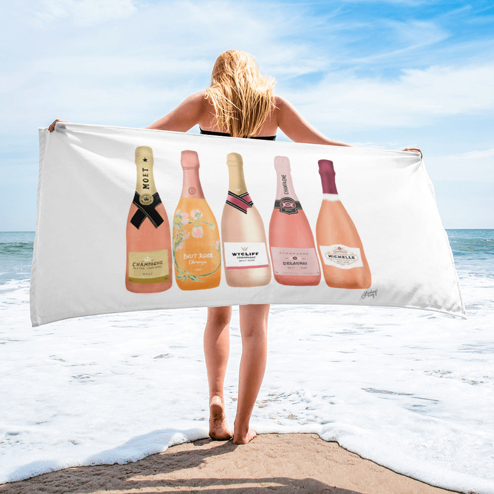 Rose Champagne Bottles Illustration - Beach Towel