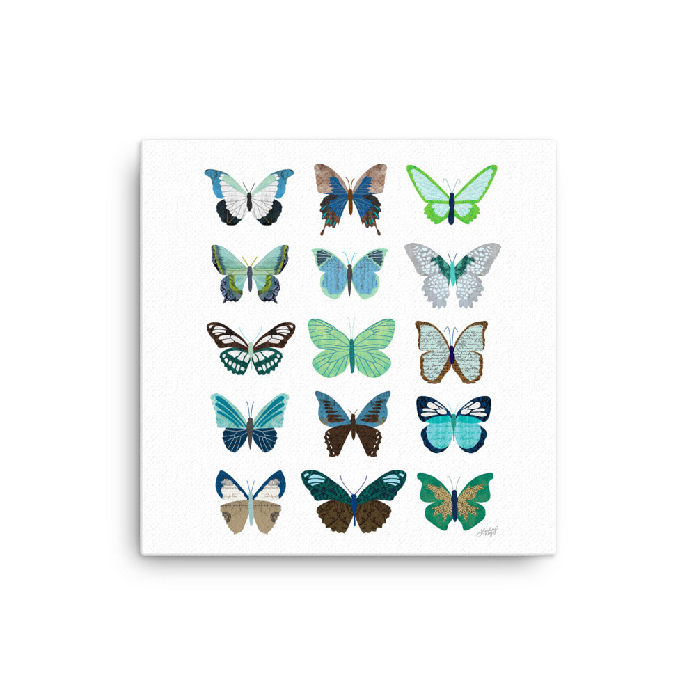 Green and Blue Butterflies Collage - Canvas