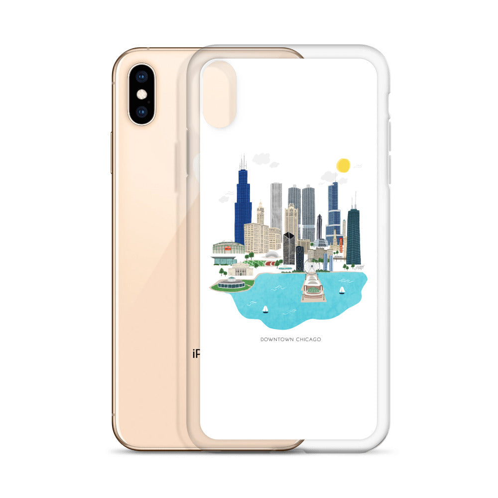 Downtown Chicago Illustration - iPhone Case