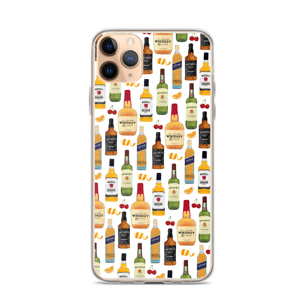 Whiskey Bottles Pattern - iPhone Case