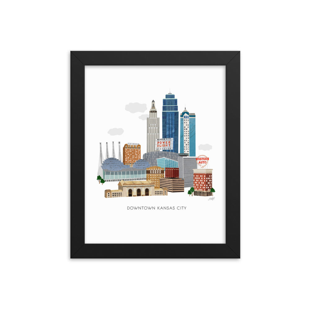 Downtown Kansas City Illustration - Framed Matte Print