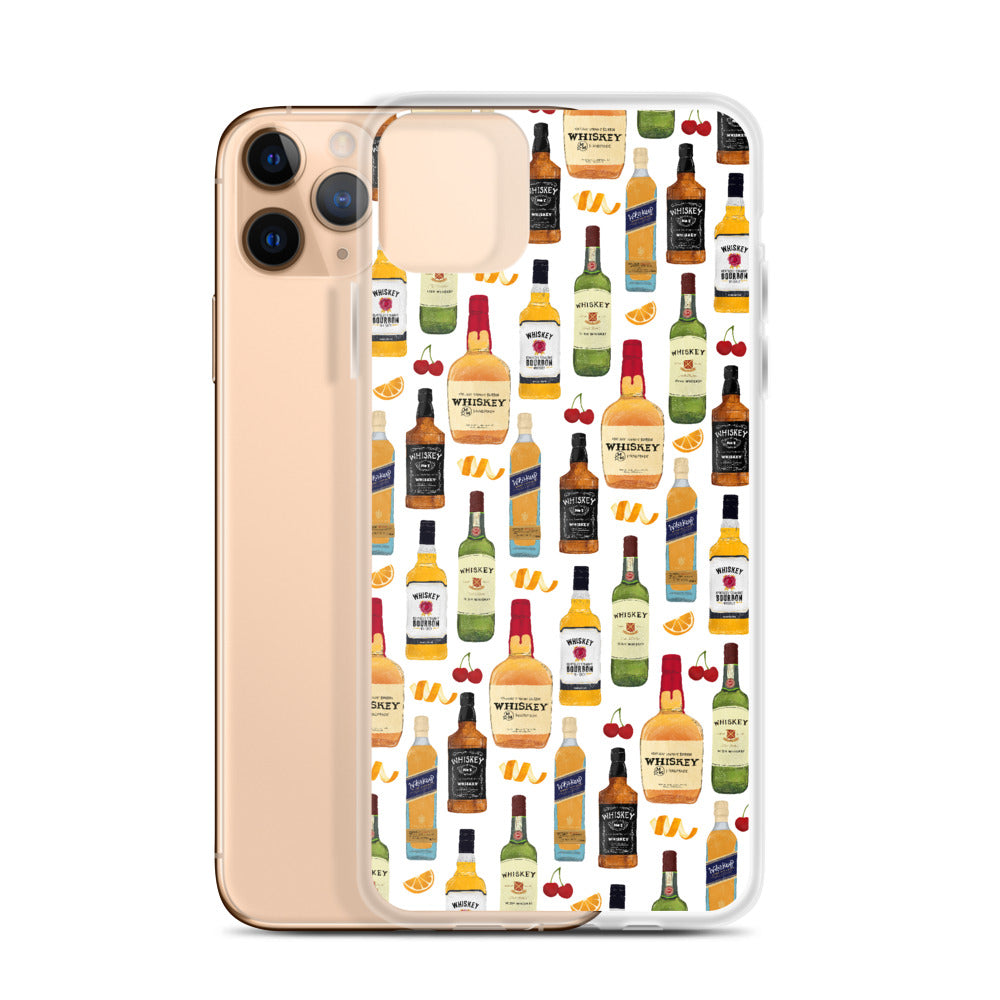 whiskey bottles alcohol illustration iphone case