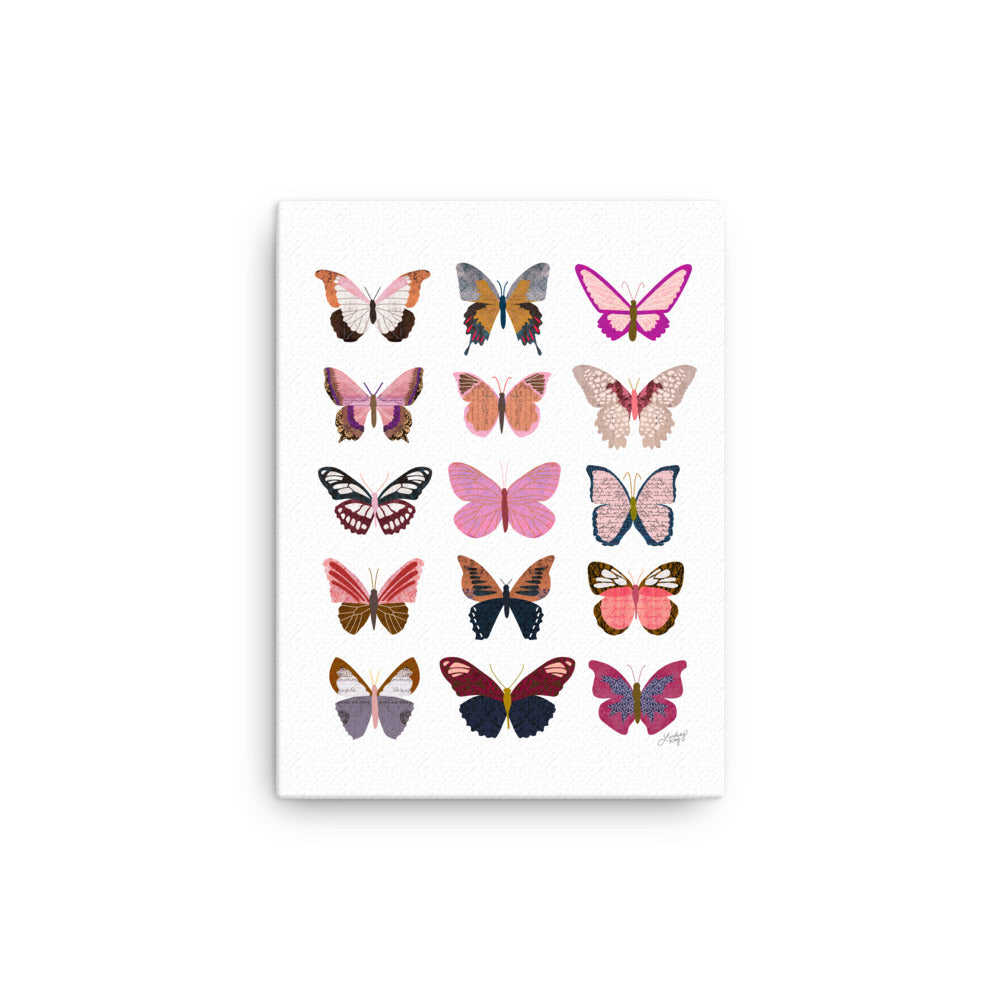 Pink Butterflies Collage - Canvas