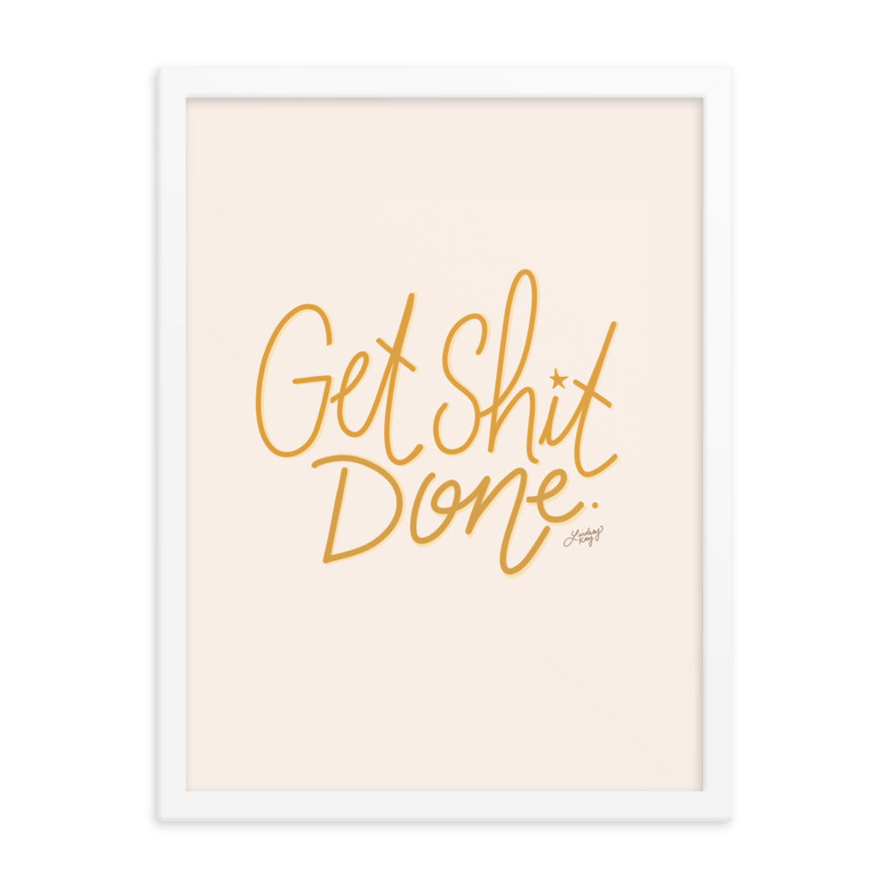 Get Shit Done (Yellow Palette) - Framed Matte Print