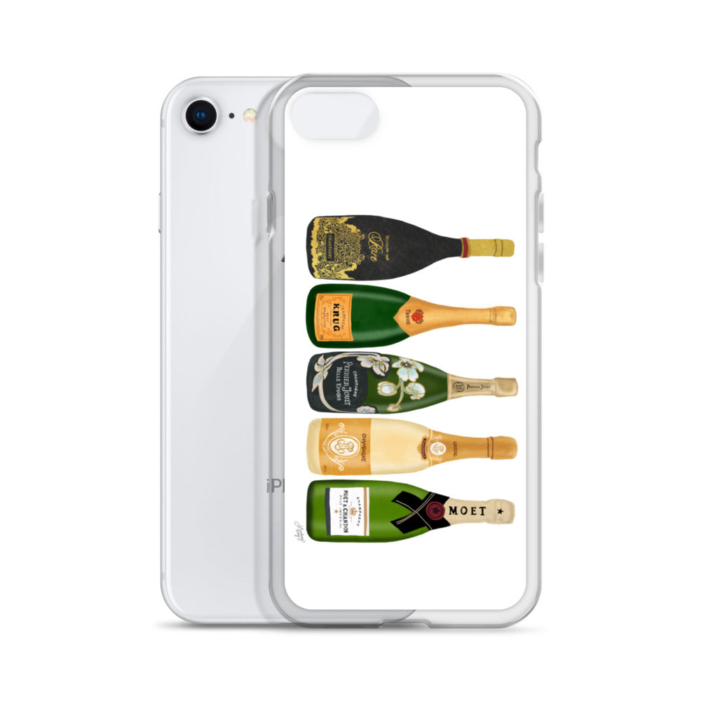 Champagne Bottles Illustration - iPhone Case