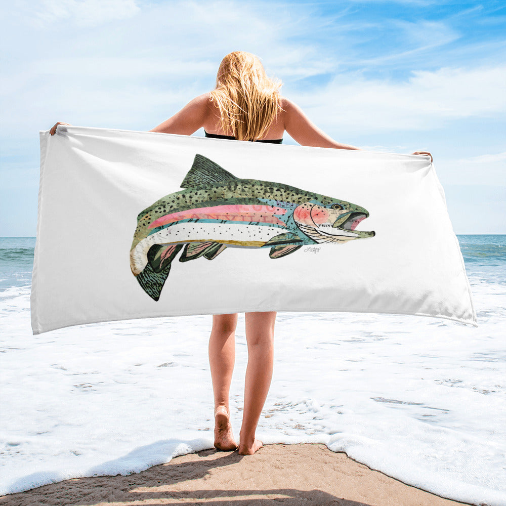 Rainbow Trout Collage - Beach Towel