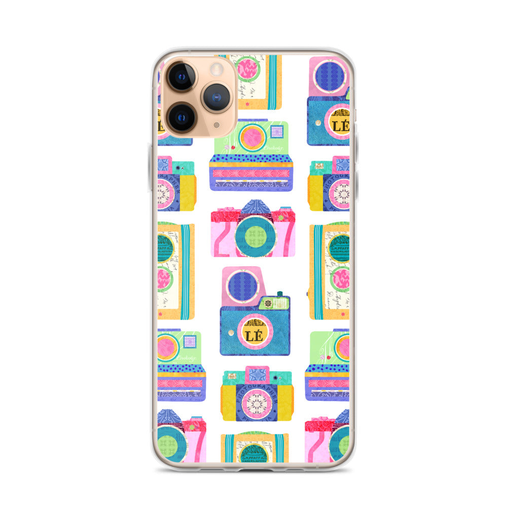Colorful Cameras Collage - iPhone Case