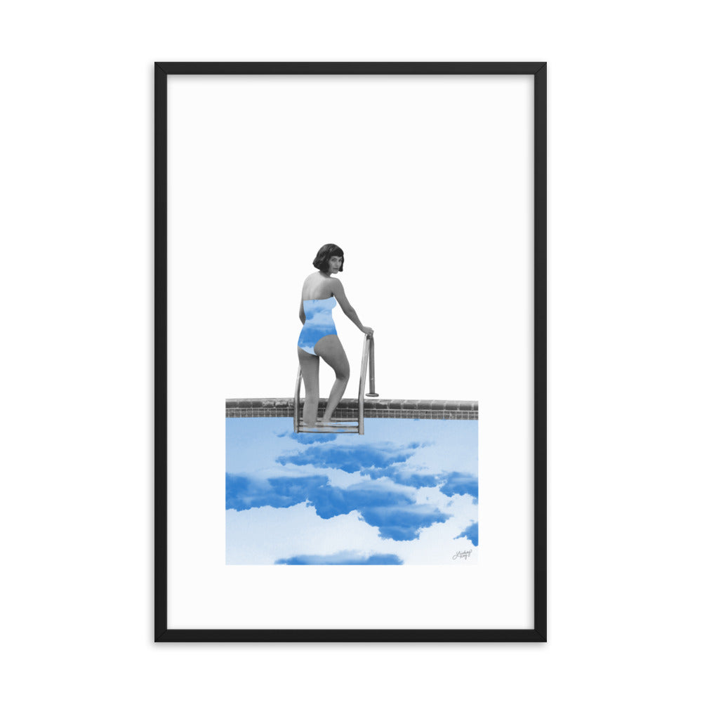 Lady in a Pool Collage - Framed Matte Print