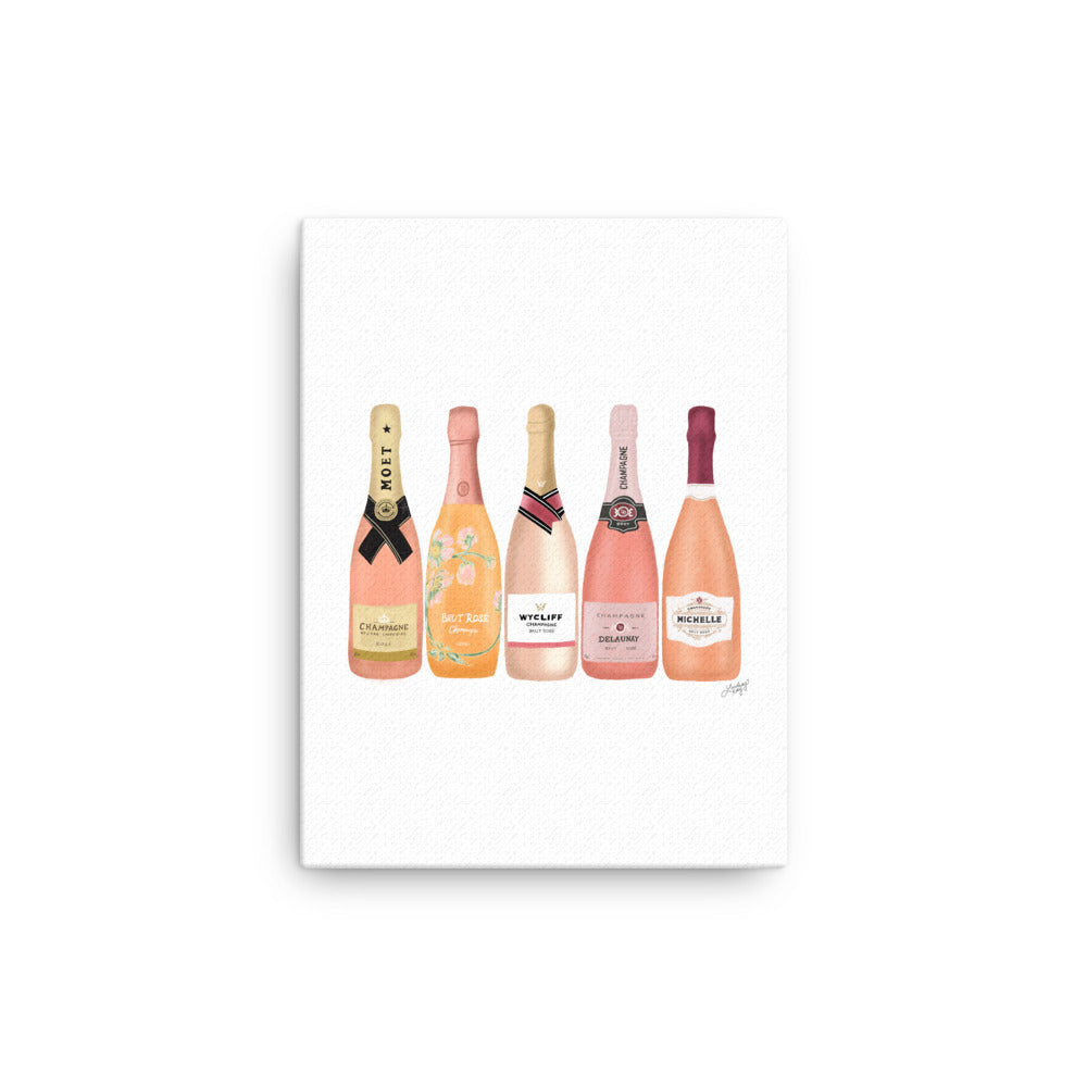 Rose Champagne Bottles Illustration - Canvas