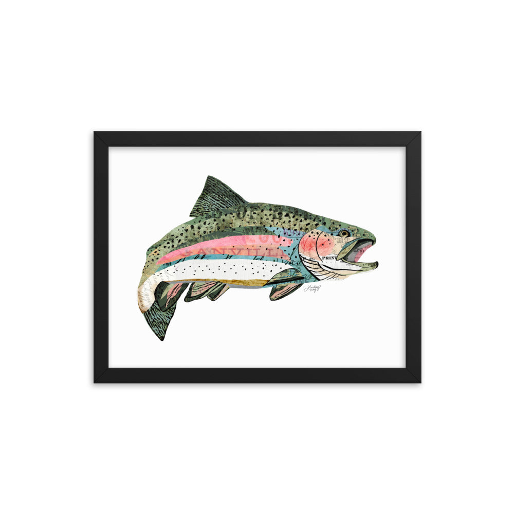 Rainbow Trout Collage - Framed Matte Print
