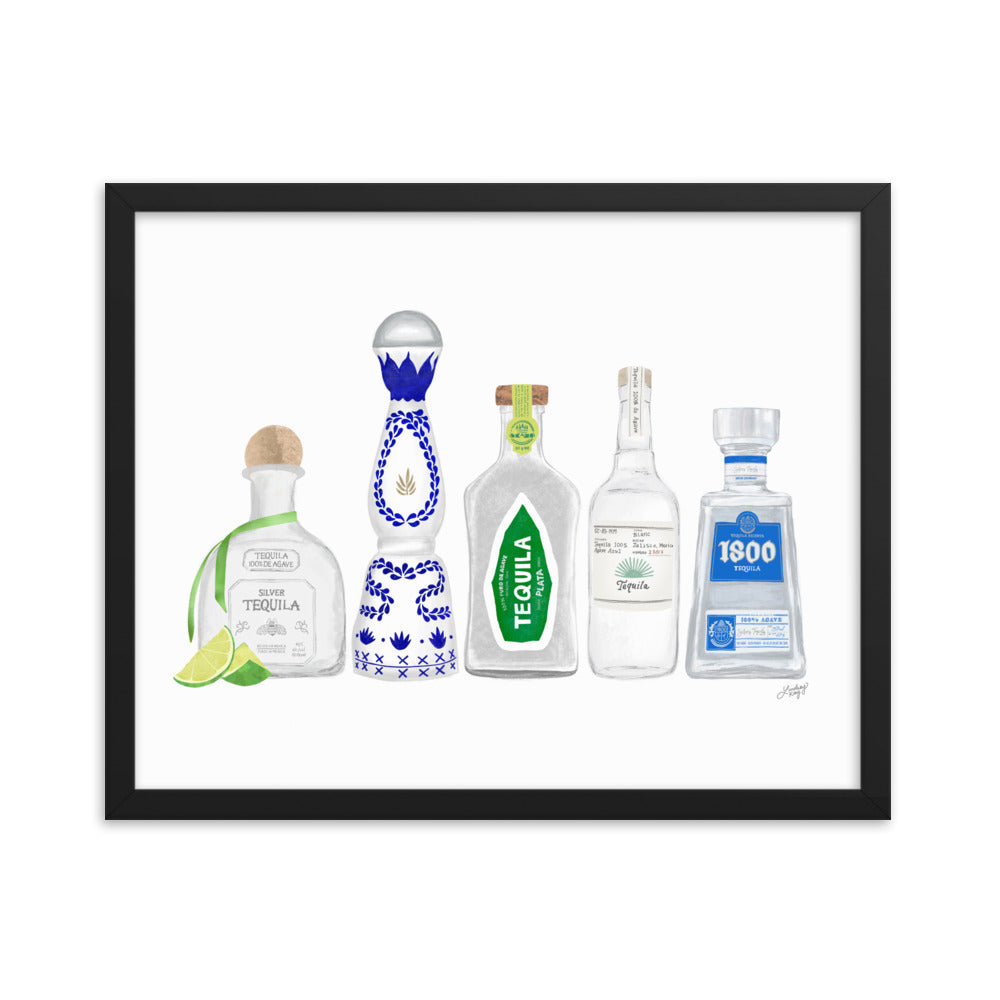 Tequila Bottles Illustration - Framed Matte Print