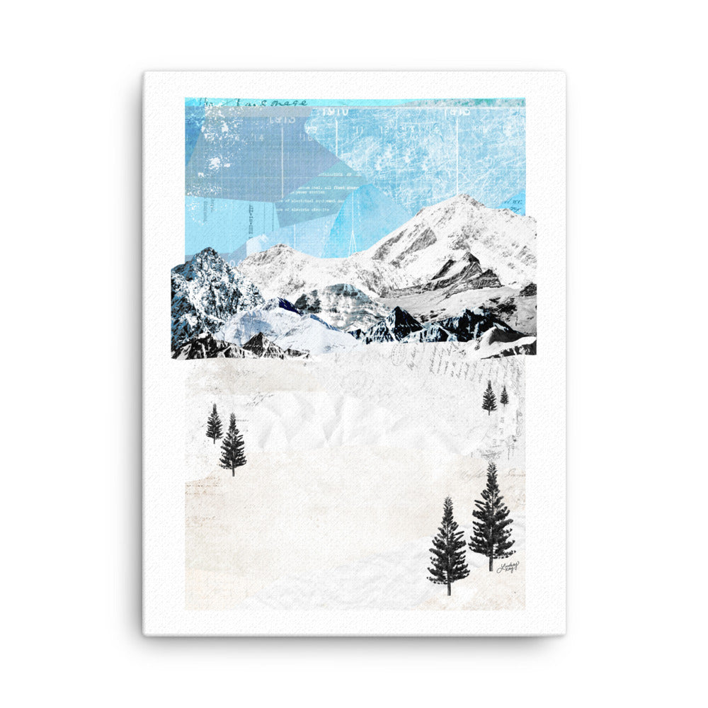 abstract collage of a snowy mountain landscape, printed on canvas