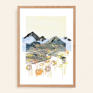 Daisy Mountain - Abstract Collage Art Print