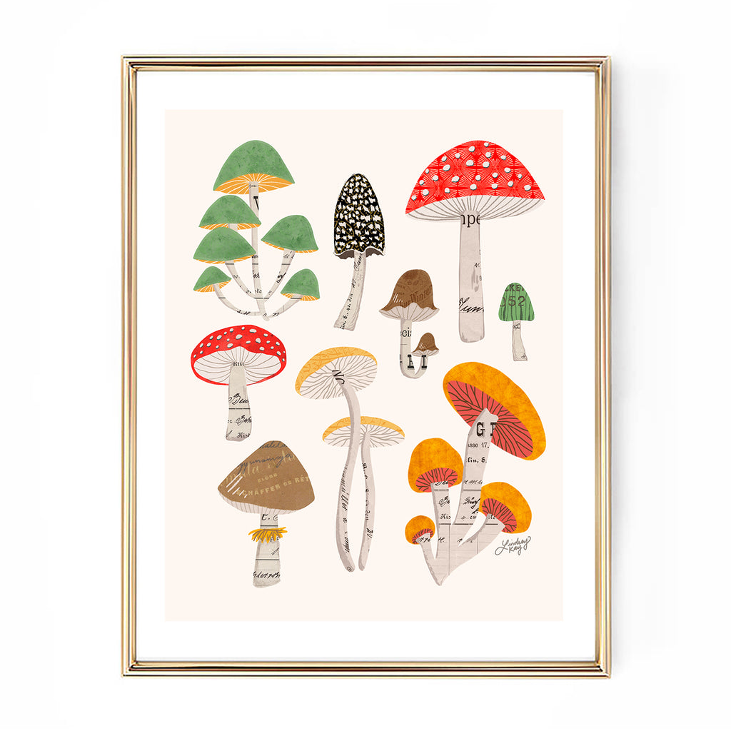 mushrooms collage illustration art print nature wall decor lindsey kay collective
