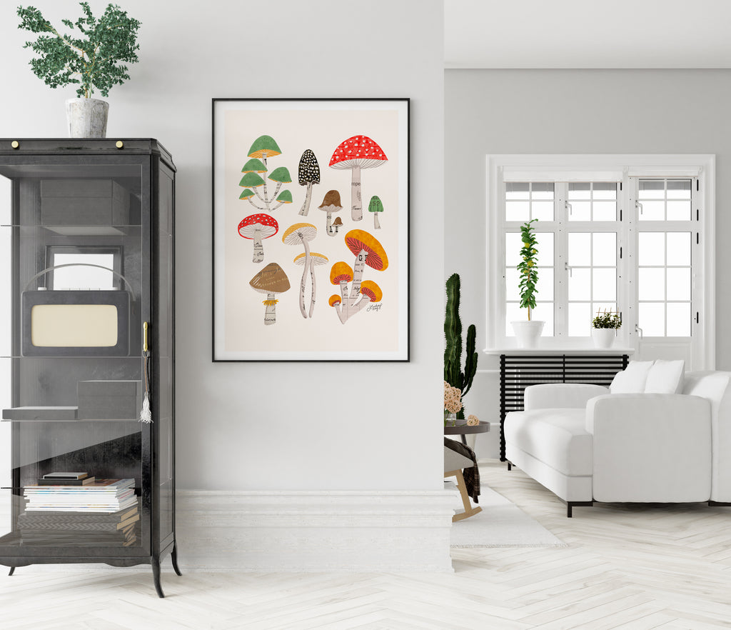 Mushrooms Collage Illustration - Art Print