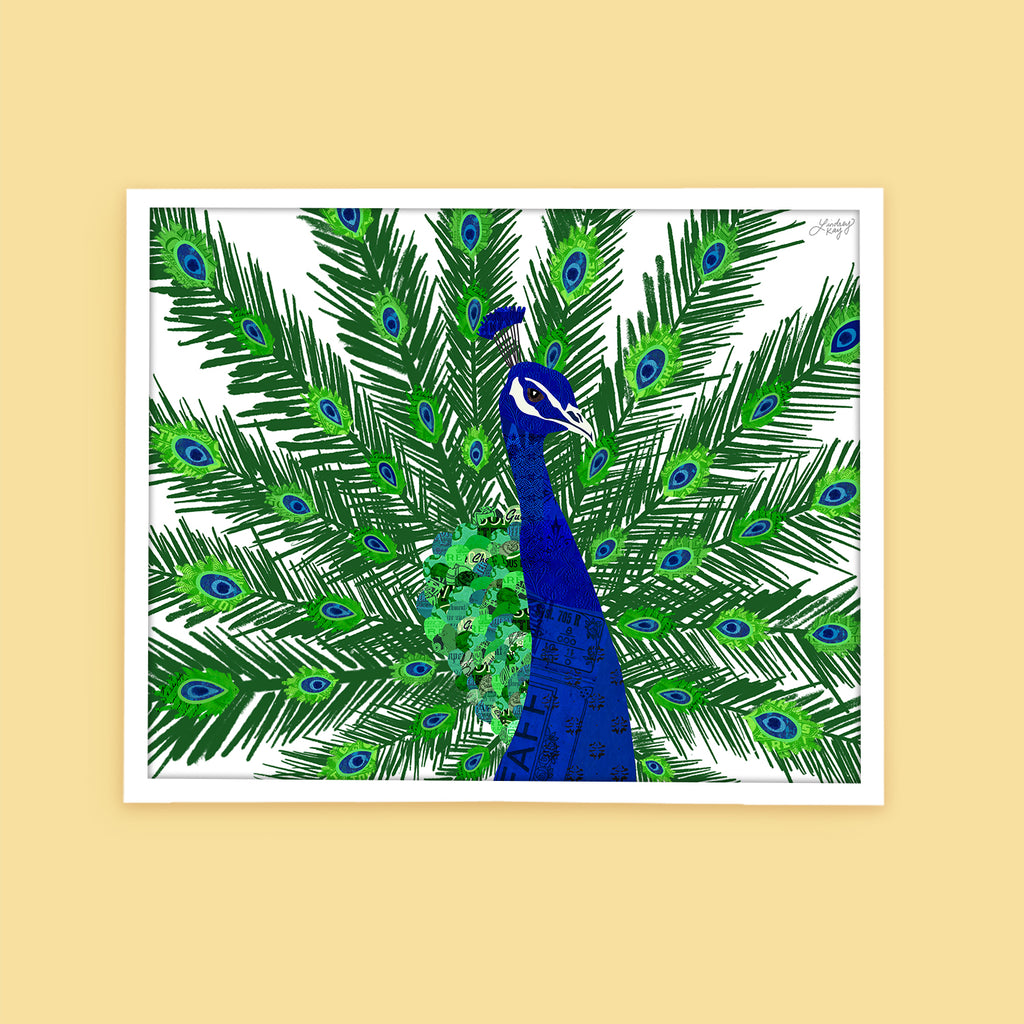 Peacock Collage - Art Print - Lindsey Kay Collective