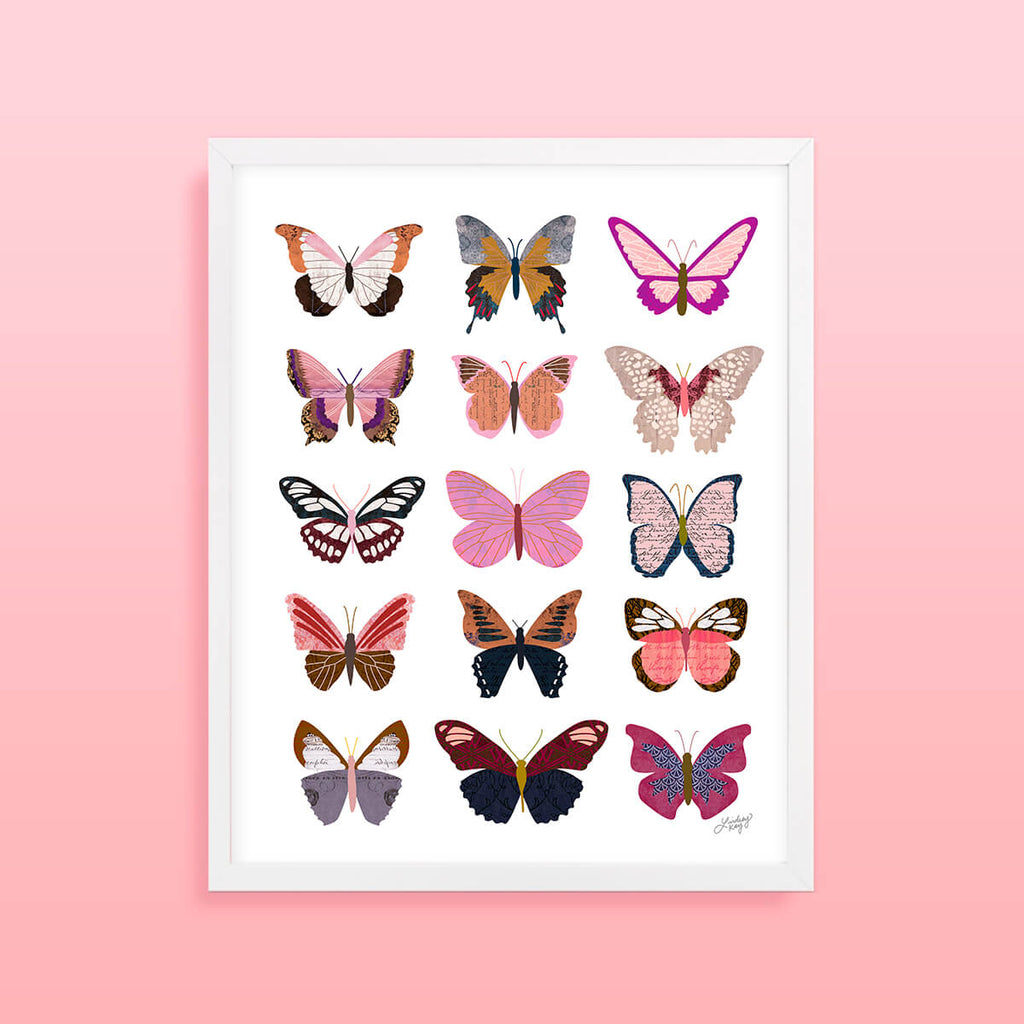 Pink Butterflies Collage Illustration Art Print for your home decor.