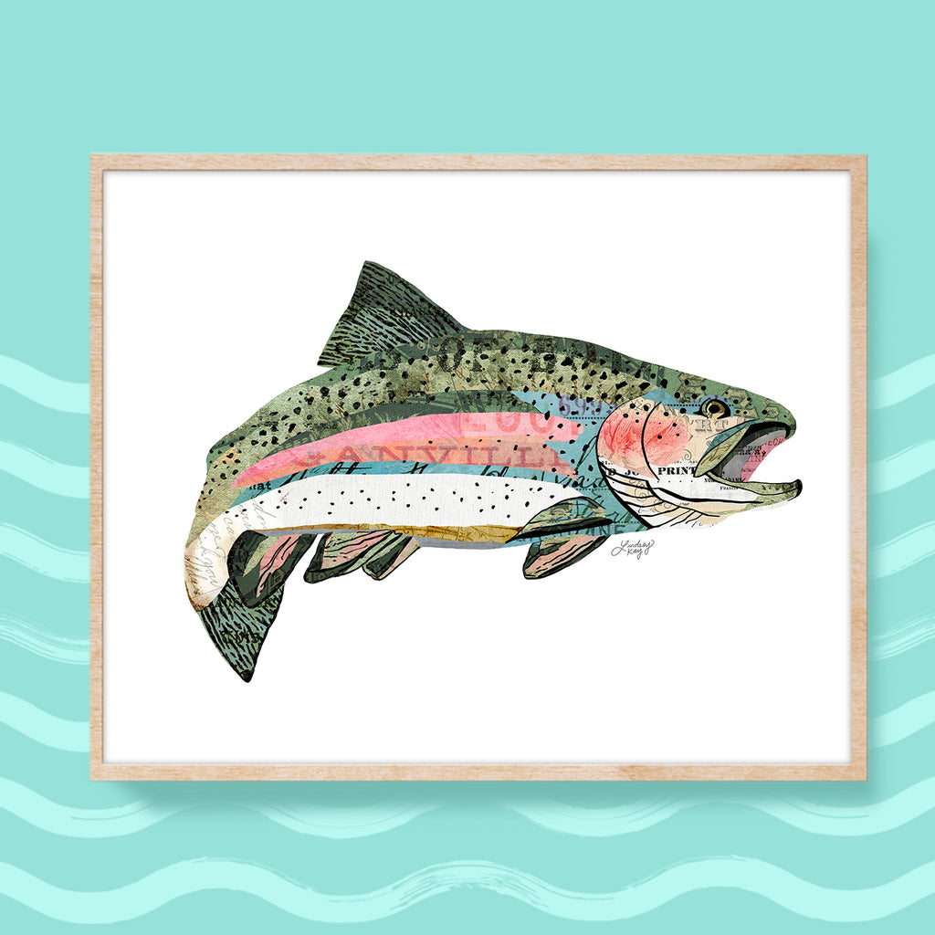 Rainbow Trout Collage - Art Print - Lindsey Kay Collective