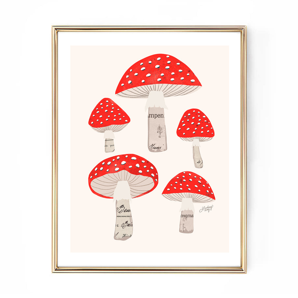 red mushrooms illustration collage art print wall decor lindsey kay collective