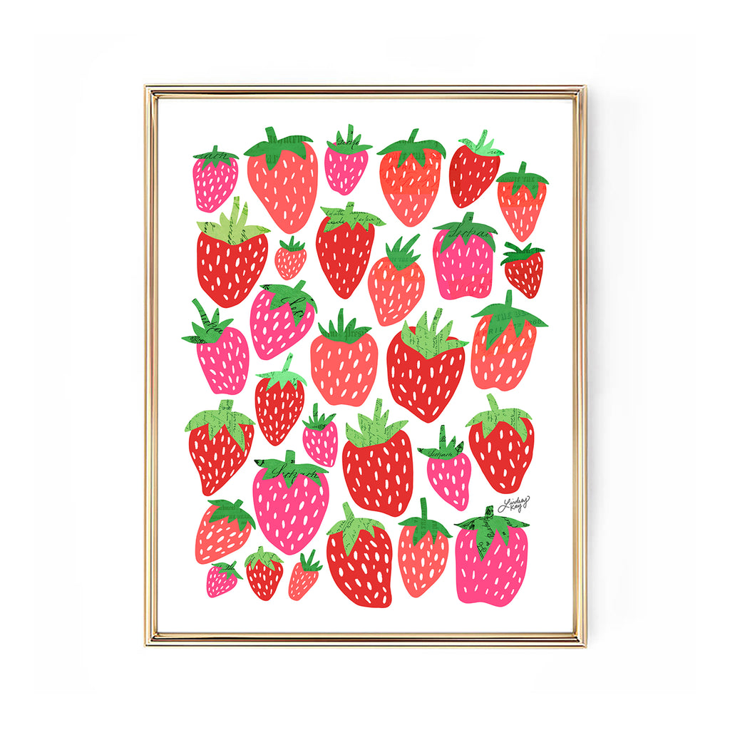 strawberries illustration design artwork art print wall art lindsey kay collective