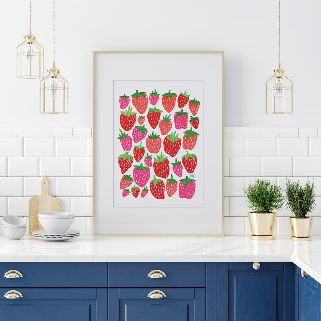 Strawberries Illustration Collage - Art Print