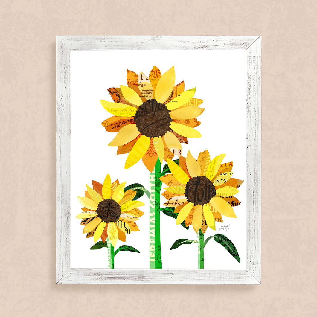 Sunflower Collage - Art Print