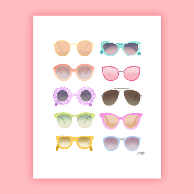 Colorful Sunglasses - Illustration Art Print