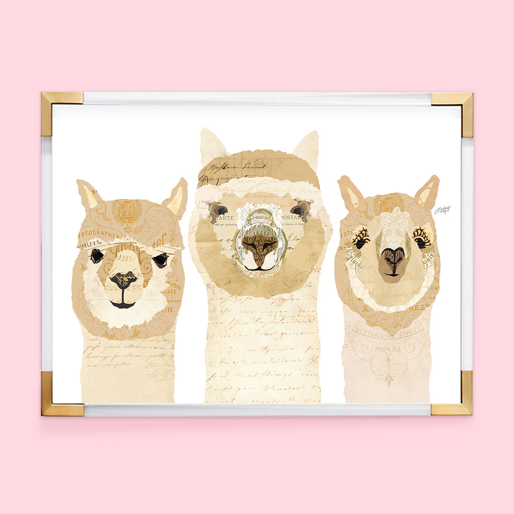 Three Alpacas Collage - Plain - Art Print - Lindsey Kay Collective