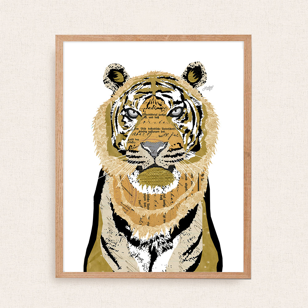 tiger collage illustration art print created by lindsey kay collective