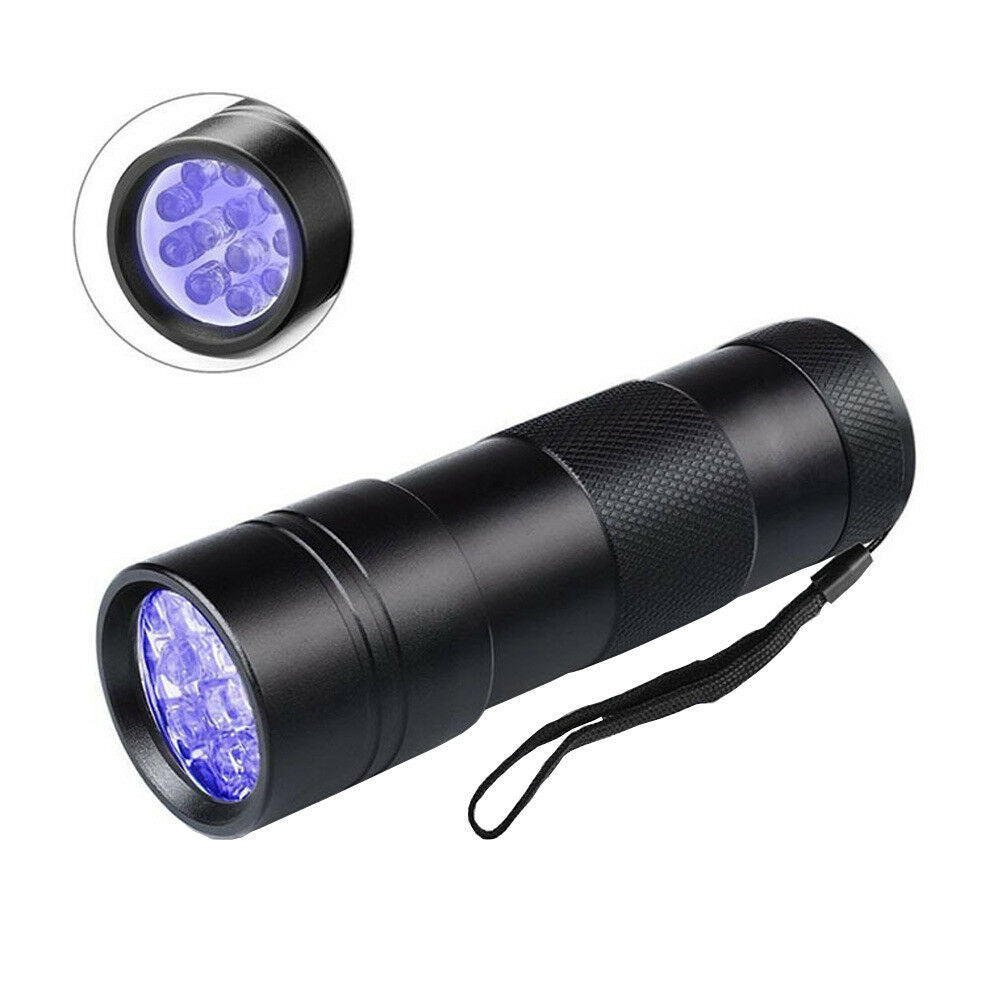 UV Mini Blacklight Flashlight 12LED