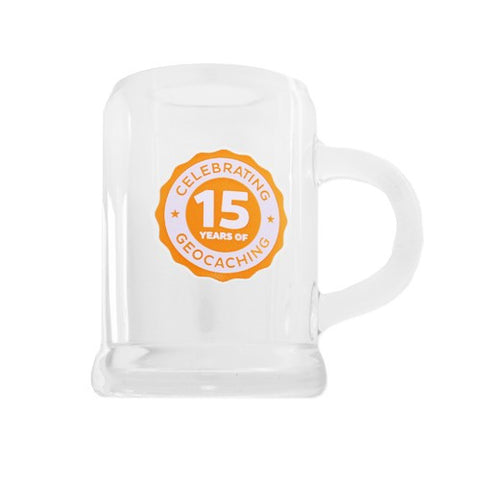 15 Years of Geocaching, shot glass size - 2oz