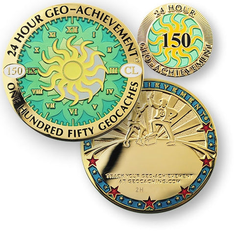 150 caches in 24 hours - Geo-Achievement Award Coin and Pin set
