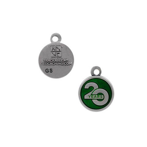 Celebrating 20 Years of Geocaching Nano Trackable Charm