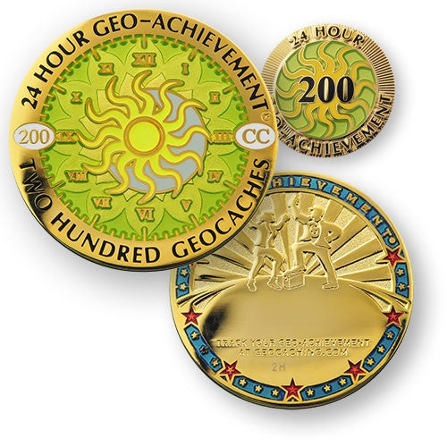 200 caches in 24 hours - Geo-Achievement Award Coin and Pin set