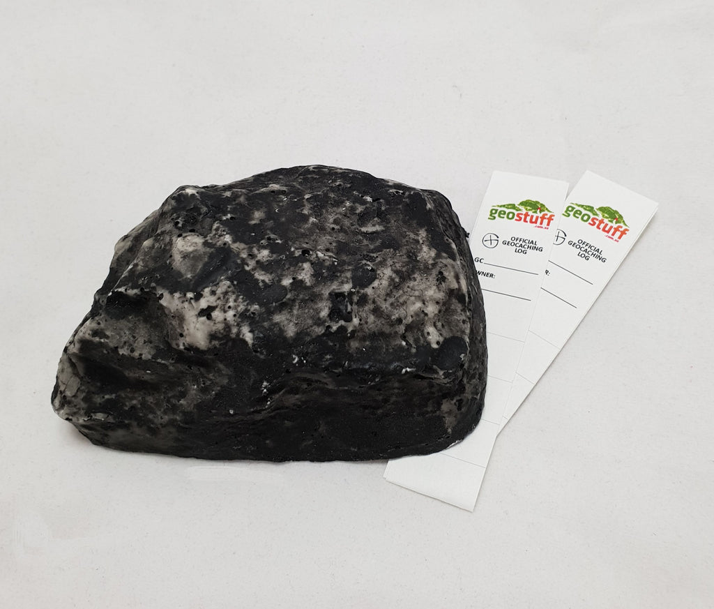 Grey Fake Rock Geocache Container with 2x logstrip