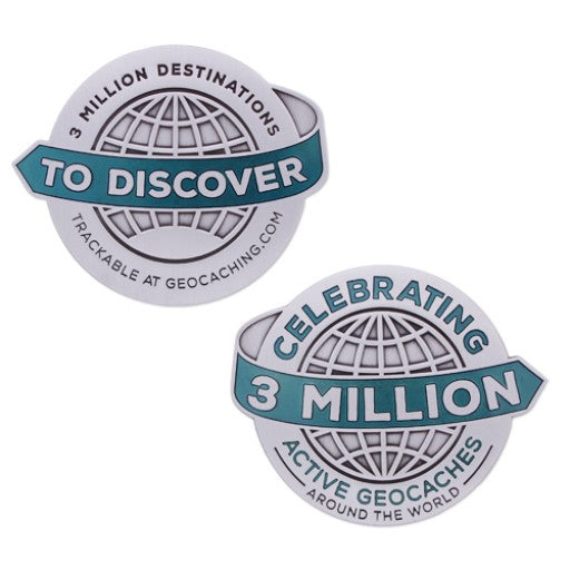 3 Million Geocaches Massive Geocoin- Silver
