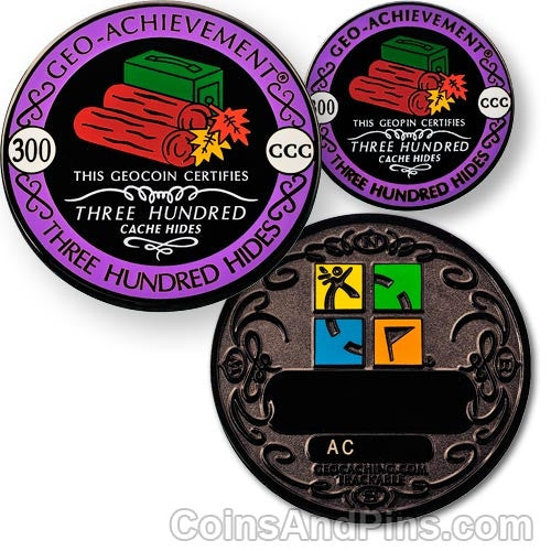 300 hides - Geo-Achievement Award Coin and Pin set