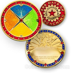 365 days of caching - Geo-Achievement Award Coin and Pin set