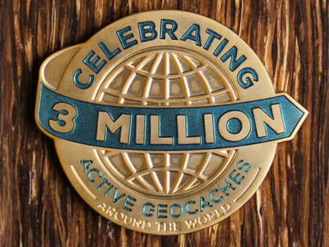 3 Million Geocaches Massive Geocoin- Gold
