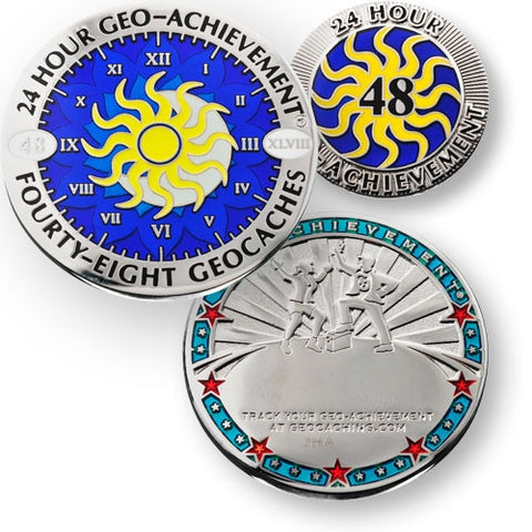 48 caches in 24 hours - Geo-Achievement Award Coin and Pin set