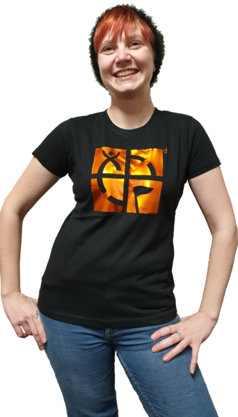 GeoTee Black with Electric Orange