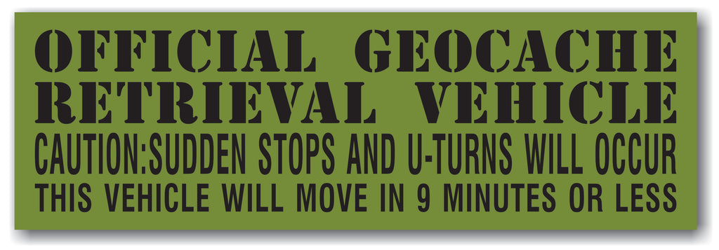 Official Geocache Retrieval Vehicle Car Bumper Sticker