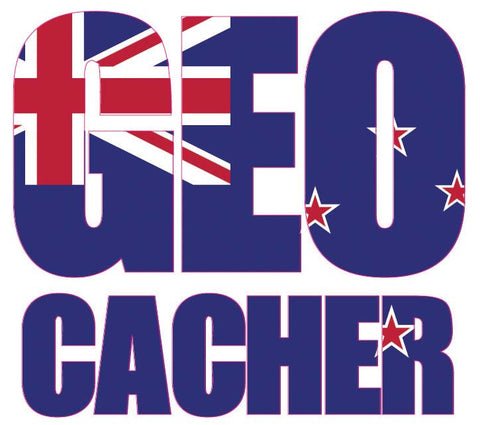 Sticker GEO Cacher - New Zealand Flag Vehicle Decal - Small