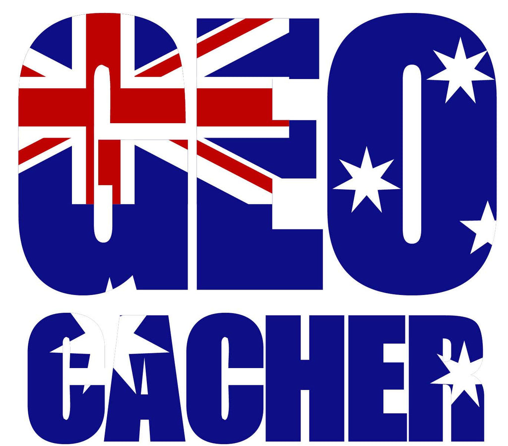 Sticker GEO Cacher - Australian Flag Vehicle Decal - Small