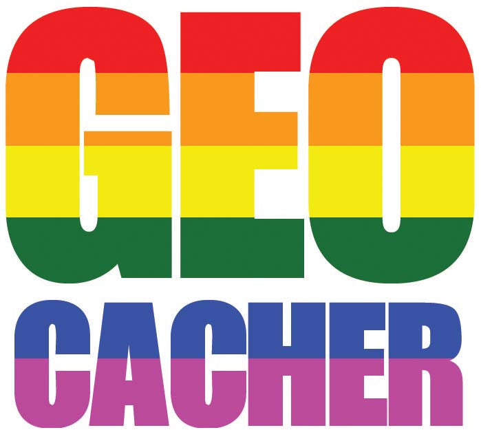 Sticker GEO Cacher - LGBT Flag Vehicle Decal - Medium