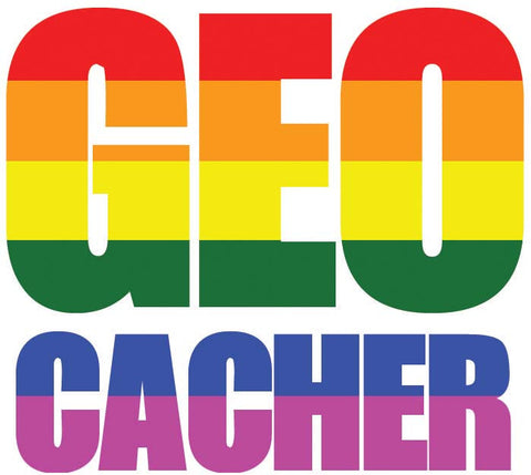Sticker GEO Cacher - LGBT Flag Vehicle Decal - Small